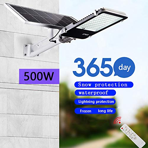 DCV 300W,400W,500W Solar-Straßenleuchte LED Straßenlampe Wasserdicht IP65 Außenleuchte Wegleuchte Intelligente Lichtsteuerung Fernbedienung Für Garten Garage Auffahrt Pfad Hof Balkon,500W