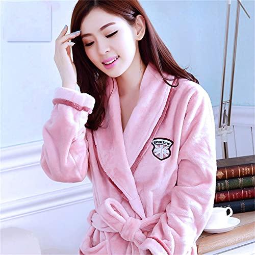 Batas de Mujer Invierno cálido Coral Polar camisón Ropa de Dormir Pijamas Femeninos Ropa de casa Vestido Floral Gron Kimono Hotel Albornoz-Pink flag-5-XXL(175cm)