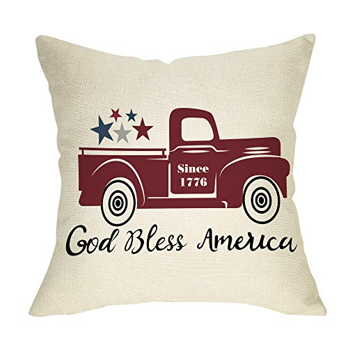 Fbcoo July 4th Patriotic Farmhouse Decorative Throw Pillow Case God Bless America Decoration Vintage...