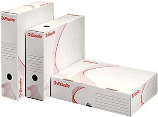 Esselte Boîte d'Archives avec Dos 80 mm et Large Ouverture, A4, Blanc, Emballé à plat, Lot de 10, Standard, 128005