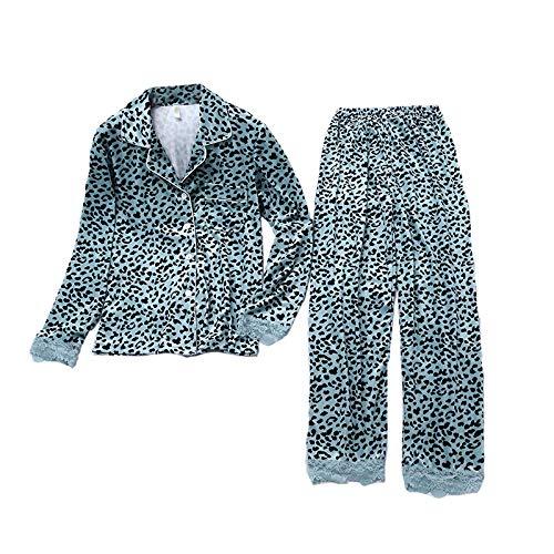 LEYUANA Conjunto de Pijama para Mujer, Ropa de Dormir de algodón de Manga Larga, Ropa de Dormir, Ropa de Dormir, Trajes de Arriba y Abajo, greensetXL