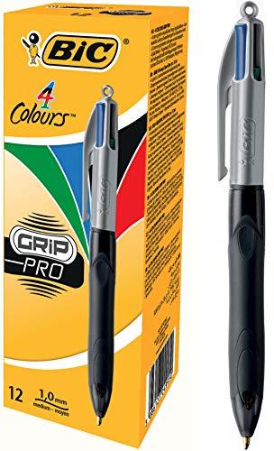 BIC 4 Colores Grip Pro - Bolígrafos retráctiles de punta media (1.0 mm), óptimo para profesionales, caja de 12 unidades, tinta negra, azul, roja y verde