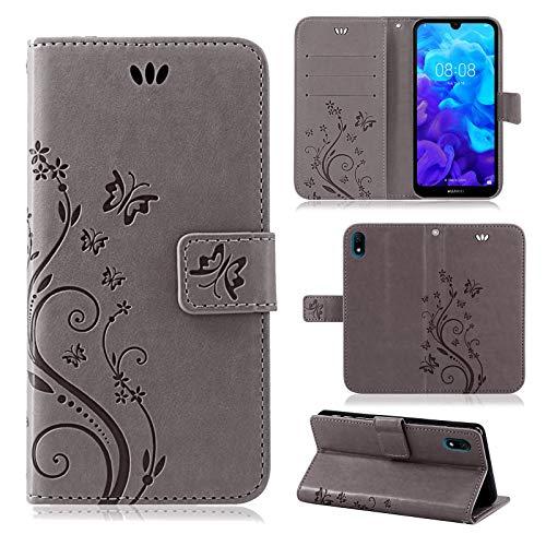 betterfon | Huawei Y5 2019 Hülle Flower Case Handytasche Schutzhülle Blumen Klapptasche Handyhülle Handy Schale für Huawei Y5 2019 Grau