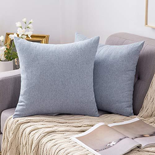 MIULEE 2er Pack Home Dekorative Leinenoptik Kissenbezug Kissenhülle Kissenbezug für Sofa Schlafzimmer mit Reißverschlüsse 45x45 cm Hellblau