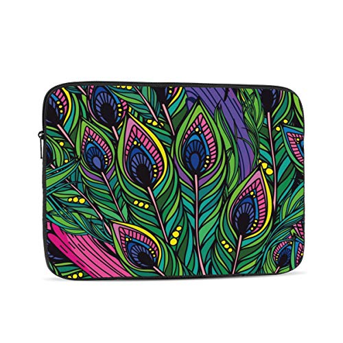 Laptop Case,10-17 Inch Laptop Sleeve Case Protective Bag,Notebook Carrying Case Handbag for MacBook Pro Dell Lenovo HP Asus Acer Samsung Sony Chromebook Computer,Bright Peacock Feathers Patter 10 inch