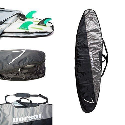 DORSAL Travel Longboard Surfboard Bag 9\'6, Schwarz/Grau