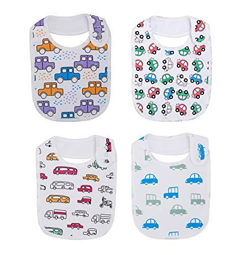 Large Snap Cotton Bibs for Baby Boys Girls Feeding Drooling for 4 Pack