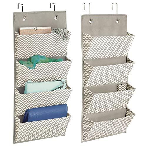 mDesign - Hangende opberger met 4 zakken - bergruimte/organizer voor kledingkast - deurbevestiging/stof - voor clutches/handtassen/accessoires - verpakt per 2 stuks - taupe/natuurlijk