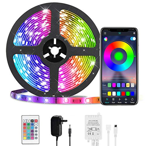 LED Strip Lights, HKESTAR Color Changing 16.4ft 150 LEDs Flexible Light Strip SMD 5050 RGB Rope Lights with Bluetooth Controller Sync to Music APP for Home Kitchen TV Bedroom