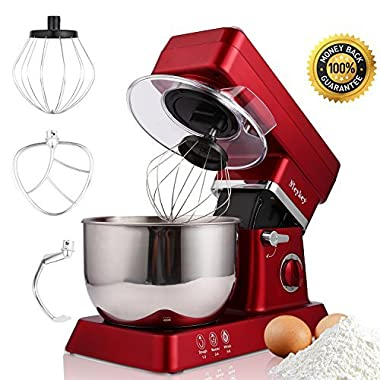 MeyKey Stand Mixer, 600W Tilt-Head Kitchen Electric Food Mixer with 6-Speed Control, 5-Quart Stainless Steel Bowl, Dough Hook, Whisk, Beater, Splash Guard