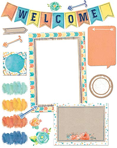 Eureka Confetti Splash Welcome Banner Back to School Bulletin Board Set and Classroom Decorations for Teachers, 34 pcs (Welcome Back To School Library Bulletin Boards)