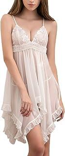 AnnaMu 大きいサイズ ふんわり ベビードール ランジェリードレス ルームウェア 胸刺繍 フリル 可愛い 白
