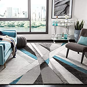 Safavieh Hollywood Collection HLW710D Mid-Century Modern Non-Shedding Stain Resistant Living Room Bedroom Area Rug, 5'3″ x 7'6″, Grey / Teal