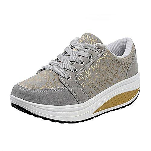 Mujer Zapatos de Deporte Casual Correr Sneaker(37 EU/Label 38 CN,1-Gris)