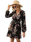 DIDK Femme Robe Courte Fleurie Imprimé Florale en Manches Longues et Col V avec Ceinture Nœud Robe Bohème Boho Elégante Noir-M