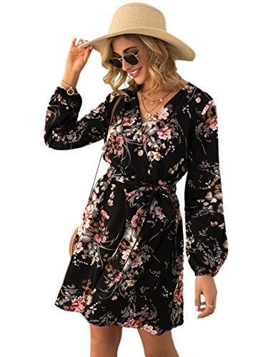 DIDK Damen Kleid Langarm Blumen Kleider Knielang Partykleid Casual Kurzkleider Freizeitkleid mit Gürtel Schwarz XL