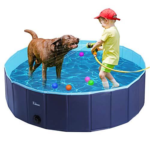 Fuloon Hundepool mit Ablassventil, Faltbarer Hunde Pool Katzenpool Swimmingpool Planschbecken Schwimmbad Hundebadewanne PVC-rutschfest, Verschleißfest (100 * 100 * 30cm, Blue-Blue)