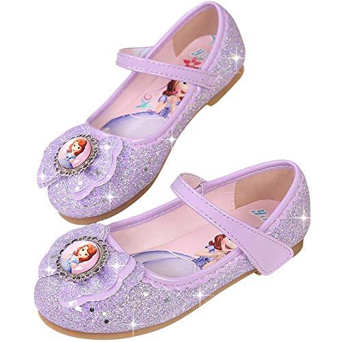 YOSICIL Princesa Zapatos Sofía niñas con Lentejuela Zapatilla de Princesa Disfraz Sandalias con Velcro Zapato de Tacón Plataforma Disfraz de Fiesta Halloween Cumpleaños Navidad 3-11Años