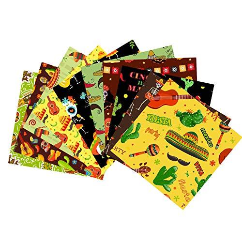 Lote de 10 paquetes de tela de algodón con estampado cuadrado, para costura, de costura, diseño de carnaval mexicano, artículos de regalo de Carnaval hechos a mano