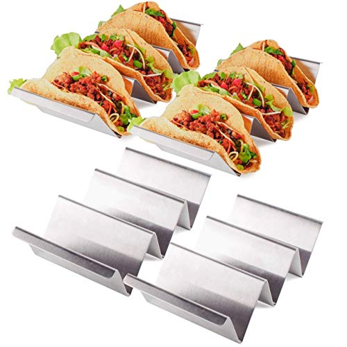 MK Kitchen Taco Holders Stainless Steel Set of 4 With Handle - Taco Shells Rack Stand Truck Tray Style - Taco Bar Serve Party For Home, Cafe , Restaurants