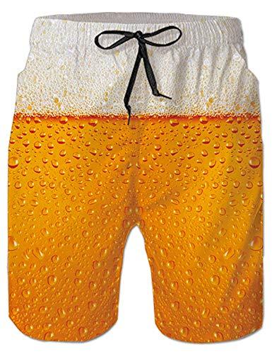 Rave on Friday Grafik Badeshorts für Herren Sommer Bier Schwimmhose Funky Badehose mit 3D Druck Hawaii Strand Schnell Trocknend Shorts XXL