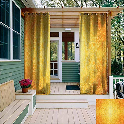 Yellow Room Darkened Heat Insulation Outdoor Curtain Victorian Style Antique Pattern with Ornamental Flourish Vintage Design Illustration Easy to Install Marigold W72 x L84 Inch
