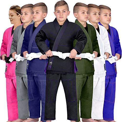 Elite Sports Kids BJJ GI, Youth Jiu Jitsu IBJJF Children's Brazilian Jiujitsu Kimono W/Preshrunk Fabric & Free Belt (Black, C00)