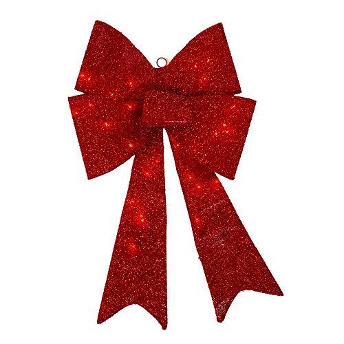 Northlight 30' Pre-Lit Cherry Red Sparkly Bow Christmas Decor