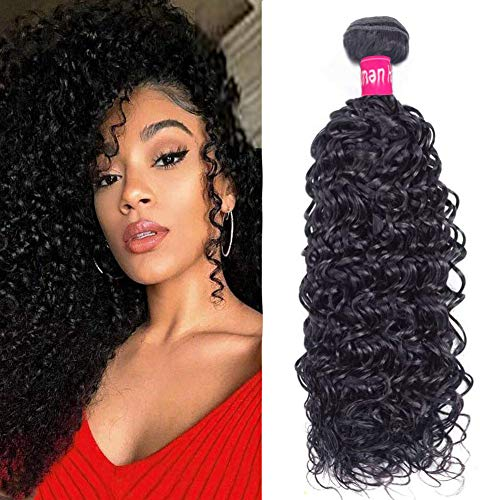 Curly Human Hair Bundles Unprocessed Extensions 100% 8A Brazilian Virgin Curly Bundles 1 Bundle Curly Hair Natural Black Color wigs for women (10 inch)