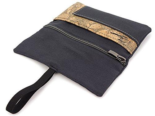 SIMARU Portatabacco Borsello in robusto sughero/cuoio di sughero e tessuto di cotone organico, disegnato in modo geniale e innovativo con vano per accendino, filtri e cartine(Antracite Scuro & Raizes)
