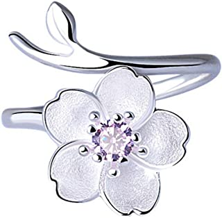 ISAACSONG.DESIGN Sterling Silver Flower Rings - Crystal Charm Simple Adjustable Rings for Teen Girls, Women, Couples