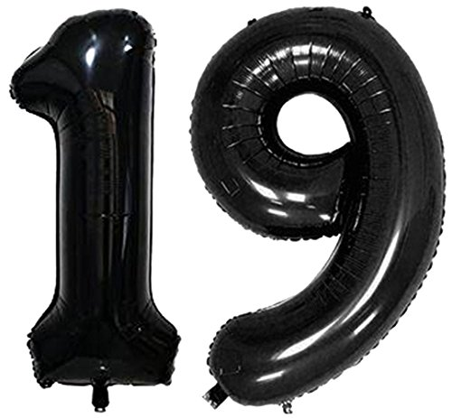 ZiYan 40 Inch Giant 19th Black Number Balloons,Birthday/Party balloons