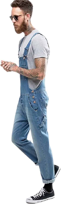 YUIJ Men's Bib Overall,Solid Color Pockets Rompers Jeans,Denim Bib Overalls