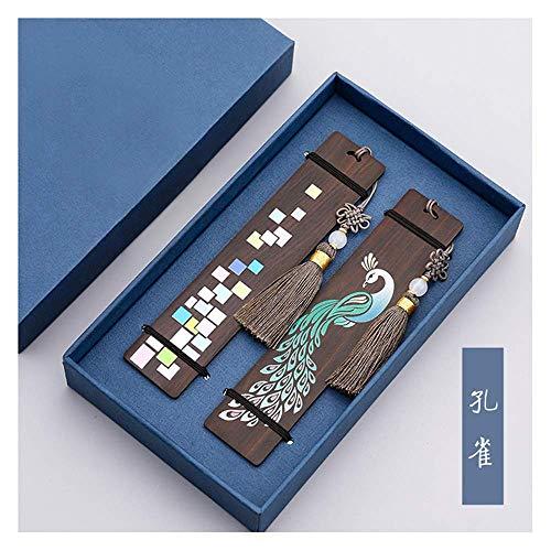 Handmade Holz Lesezeichen Set Page-Marker für Buchliebhaber, Jubiläumsgeschenk, Sammlung, Geschenkverpackung - Pfau und Zeitfragmente