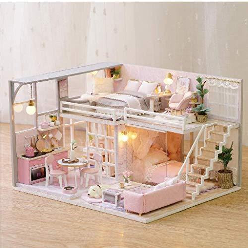 JJJJD-escultura Apartamento Modelo Rosa de Bricolaje Dollhouse Chica con el LED Enciende y Polvo Cubierta Etc Libros Inicio Decoración