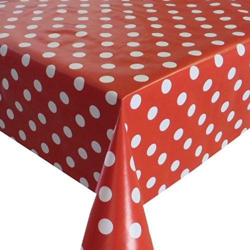 Breedte Selecteerbare Lengte 120 CM Dots Rood/Wit met Food-Maine Clean Tafelkleed Gartentischdecke