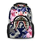 SWEET TANG Climbing Picnic Running Backpack Daypack Durable Polyester Anti-Theft Multipurpose Rucksack Large Capacity Bookbag, Bapes Shark Teeth Camouflage Camo Art