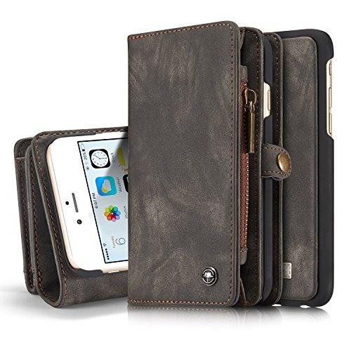liyuzhu Para el Caso de iPhone 6 Plus, una Funda de Cuero de Cuero Hecha a Mano Multifuncional de Dos en uno con tragamonedas con Tarjeta de crédito y Cubierta extraíble, Bolso Premium con Cremallera