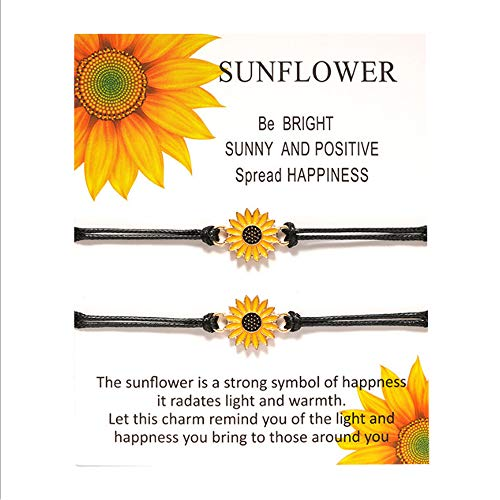 Rinhoo 2Pcs 8 infinity Couple Braided Handcrafted Leather Luck Bracelet Bangle Rope Adjustable Chain Fit 7-9 Inch Wrist (Sun Flower)