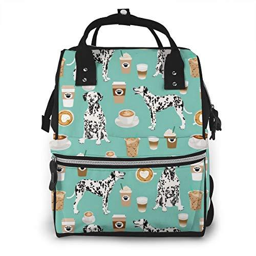 Vintage Diaper Bag Backpack for Women & Men, Anti-Water Maternity Nursing Rucksack with Large Capacity, Dalmatians Cute Mint Coffee Best Dalmatian Dog Travel Organizer
