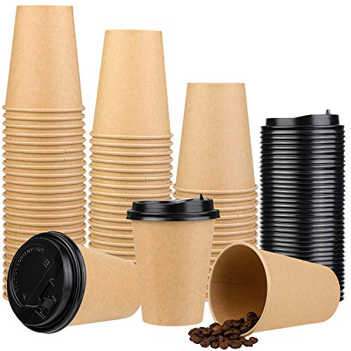 Elcoho 50 Pack 8 Ounces Kraft Paper Disposable Coffee Cups with Leakproof Lids Single Walled Paper Coffee Cups for Coffee, Tea, Hot or Cold Beverage, Takeaway Drinks