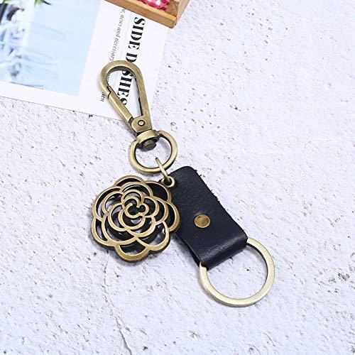 YASIKU Llavera Llavero Regalos pequeños Hechos a Mano creativos Llavero de Cuero de imitación de Flor Redonda de Bronce Colgante de Coche para Hombre