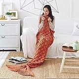 Xiangtat Mermaid Tail Blanket, Knitted Mermaid Sofa Blanket Quilt Living Room Handmade Crochet Mermaid Fishtail Blankets Sleeping Bag for Adult Women Girls 200cm X 90cm (Orange, 90cmx195cm)