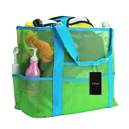 Preisvergleich Produktbild Faleto XXL Netz-Strandtasche Familie Mesh-Strand-Tasche Netztasche für Sandspielzeug,  Extra Große Familie Mesh Beach Bag Tote,  Blau / Grün (Grün)