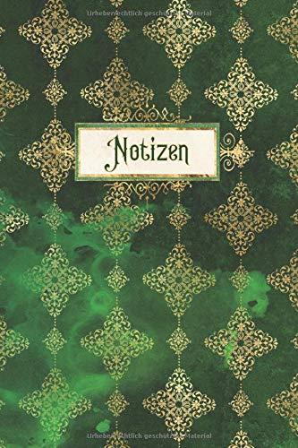 Notizen: Notizbuch Steampunk Absinth Äther | ca. DIN A5 (6x9''), liniert, 150 Seiten, grün-goldenes Vintage Design GFD 004 | Softcover |für ... | Ideal als Tagebuch, Notizbuch, Journal