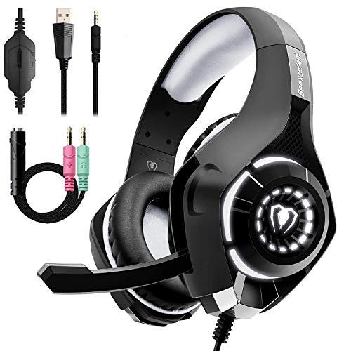 Beexcellent Gaming Headset fur PS4 Xbox One PC Illusions LED Licht Stereo Bass Sound 35mm Professional Kopfhorer mit Rauschunterdruckungsmikrofo fur Laptop Mac Handy Tablet LAN