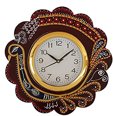 Circadian Wooden Designer Golden Round Spiral Wall Clock for Home/Living Room/Bedroom/Kitchen