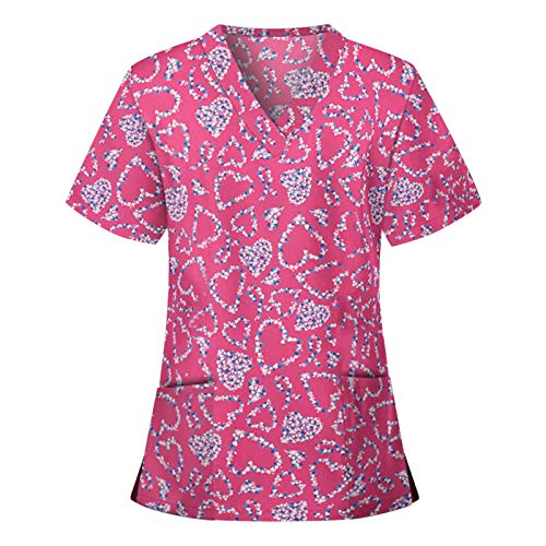 Snakell Schlupfkasack Damen Kasack Schlupfjacke Schlupfhemd Kurzarm V-Ausschnitt Kasacks Damen Pflege Arbeitskleidung Bedruckt T-Shirts Tops