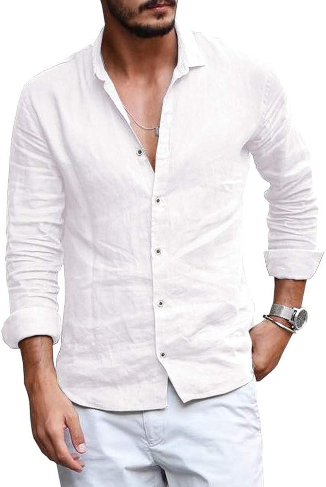 Mens Button Down Shirt Linen Cotton Shirts Casual Long Sleeve Spread Collar Lightweight Beach Plain Tops