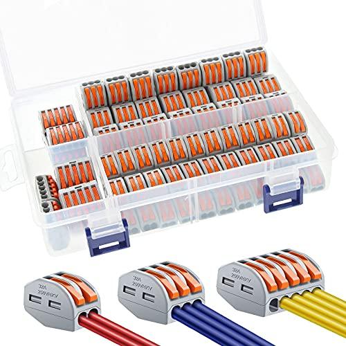 Conector Bloque Terminal BNEHHOV 111Pcs Conectores de Cable Compacto con Palanca de Empuje con Resorte 50 pcs-212/50 pcs-213/10 pcs-215 y una Caja de Almacenamiento